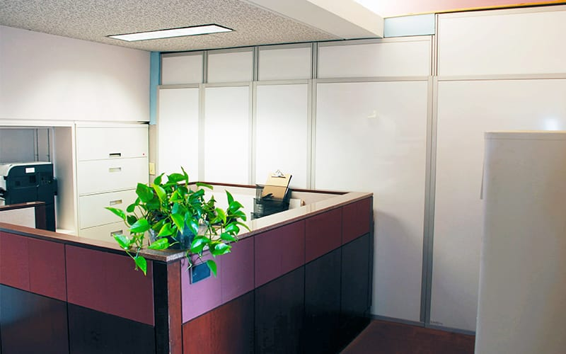 Corporate office with temporary containment walls